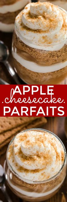 These Apple Cheesecake Parfaits combine two holiday favorites in one delicious no-bake dessert! Made with just five simple ingredients, these parfaits have all the flavors of apple pie, combined with rich, creamy cheesecake and homemade whipped cream. Best of all, they come together in no time at all.