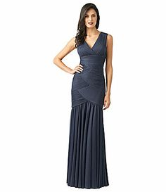 v neck more flattering and cooler for me back covered up Adrianna Papell Shirred Mermaid Gown #Dillards