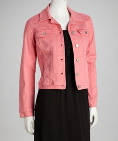 Take a look at this Coral Button-Up Denim Jacket by Live A Little on #zulily today! $24.99