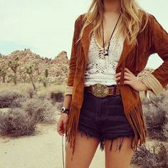 Sexy modern hippie suede fringe jacket with boho chic crochet top and gypsy belt. For the BEST Bohemian fashion & jewelry trends for 2014 FOLLOW http://www.pinterest.com/happygolicky/the-best-boho-chic-fashion-bohemian-jewelry-gypsy-/