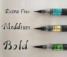 Japanese-FUDE-BRUSH-PEN-MediumType-Cartridge-Ink-Pentel-Calligraphy