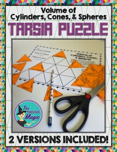 "Looking for a fun, engaging resource for volume of cylinders, cones, & spheres? This math puzzle is sure to be a hit!    This Tarsia Puzzle makes a great collaborative activity. Have students work in pairs to cut down on ""cut and paste"" time. To solve the puzzle, students will solve 18 volume of cylinders, cones, and spheres and then arrange the puzzle pieces to fit."
