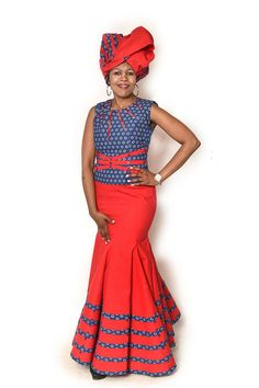 African Fashion – Designer Fashion Tips Sotho Traditional Dresses, South African Traditional Dresses, Traditional Fashion, Traditional Outfits, Traditional Wedding, African Wear Dresses, African Attire, Xhosa Attire, Shweshwe Dresses
