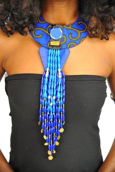 Handmade Fabric African Print Necklace with Matching Upper Arm