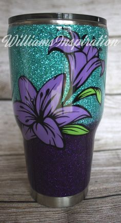 Custom Lily Glitter Ombre Tumbler / Tumbler Cups/ Personalized Tumblers /Handmade gifts / Personalized Gifts for Her / Flower tumbler Diy Tumblers, Personalized Tumblers, Glitter Tumblers, Personalized Gifts, Glitter Cups, Green Glitter, Handmade Gifts For Her, Insulated Cups, Tumbler Designs