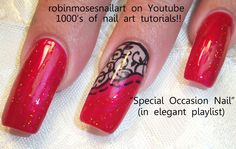 Nail-art by Robin Moses red and black  http://www.youtube.com/watch?v=rV1wWnT-0pY