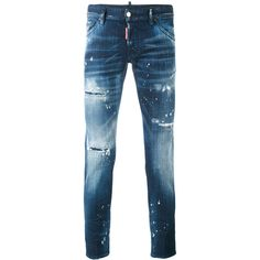 Dsquared2 Distressed Skinny Jeans (€335) ❤ liked on Polyvore featuring men's fashion, men's clothing, men's jeans, mens blue jeans, mens blue ripped jeans, mens distressed skinny jeans, embellish mens jeans and mens destroyed jeans
