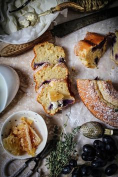 Black grape lemon thyme cake served with comb honey and sweet labne (yoghurt cheese)