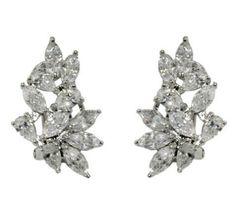 Meva Marquise Cluster Stud Earrings | Cubic Zirconia | Silver