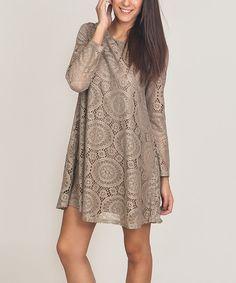 Taupe Arabesque Lace Shift Dress