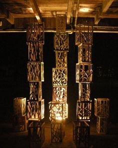 purplehomes: Creating masterpieces out of the ordinarywine crates cut to mimic trees and then lit with fixture below