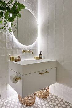 The Block 2019 Oslo Guest Ensuite bathroom ideas bathroom vanity backlit bathroom mirror white and brass bathroom Backlit Bathroom Mirror, Brass Bathroom, Ensuite Bathrooms, Guest Bathrooms, Bathroom Light Fixtures, Zen Bathroom, Bathroom Lighting, Bathroom Goals, Bathroom Inspo