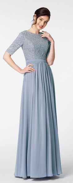The dusty blue bridesmaid dress featuring turndown collor and decorations buttons, simple and elegant cut, A Line skirt with floor length. Dusty Blue Dress, Bridesmaid Dresses With Sleeves, Blue Bridesmaids, Bridesmaid Ideas, Trendy Dresses, Modest Dresses, Blue Dresses, Modest Clothing, Simple Dresses