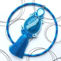 Bohemian Pendant Blue Necklace Boho Chic Jewelry Gift For