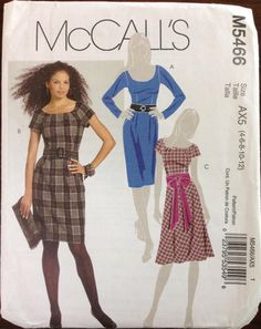 McCalls M5466 5466 Pattern Wide Scoop Neck Dress Waist Dart | Etsy Mccalls Patterns, Baby Patterns, Flare Skirt, Midi Skirt, Scoop Neck Dress, Creative Skills, Straight Skirt, Double Breasted Coat, Princess Seam