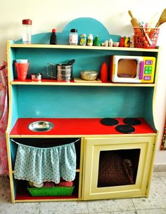 IKEA Hackers: IKEA Cupboard Turned Children Play Kitchen- @EQ Santangelo you can usually find old ikea pieces on craigslist, also just another type of piece to look for rather than the two matching nightstands