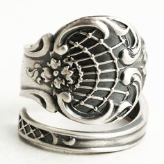Victorian Spider Web Ring Sterling Silver Spoon Ring by Spoonier