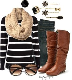 cute fall - winter outfit...minus the scarf, sunglasses and accessories for me #ugg #boots