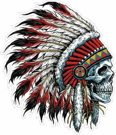 tattoos - Details about Indian Chief Skull Decal Sticker Car Truck Window Bumper Laptop Wall Indian Headdress Tattoo, Indian Skull Tattoos, Indian Chief Tattoo, Indian Head Tattoo, Indian Tattoo Design, Indian Tattoos For Men, Body Art Tattoos, Tattoo Drawings, Sleeve Tattoos