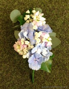 Pink and Blue Pin Corsage with Hydrangea, stocks and eucalyptus | Wedding Flowers Liverpool, Merseyside, Bridal Florist, Booker Flowers and Gifts, Booker Weddings, Flower delivery Liverpool