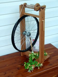 spinning wheel with bicycle wheel