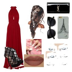 """""""real"""" by cahstylesd on Polyvore featuring moda, Elie Saab, Christian Louboutin, Yves Saint Laurent e Derriére"""