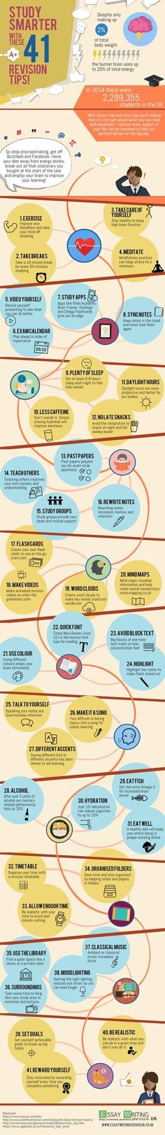 41 Revision Tips to Study Smarter Infographic - http://elearninginfographics.com/41-revision-tips-study-smarter-infographic/