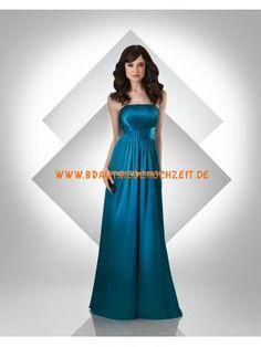 2012 trendiges Brautjungfernkleid aus Stretchsatin Bodenlang A-Linie