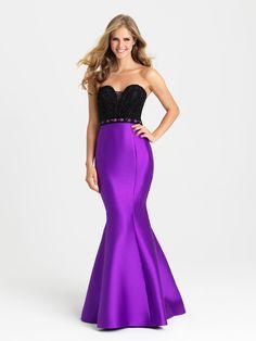 Madison James 16-423 In Stock Purple Size 8 Color Block Beaded Mikado Mermaid Prom Dress