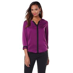 Shop Wendy Williams Colorblocked Blouse, read customer reviews and more at HSN.com.