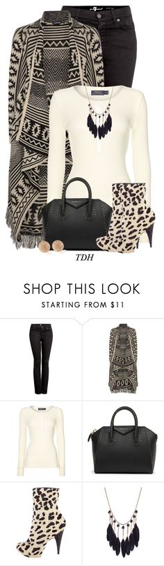 """""""Aztec Print Cardigan"""" by talvadh ❤ liked on Polyvore featuring 7 For All Mankind, Boohoo, Polo Ralph Lauren, Givenchy, Giuseppe Zanotti and Carolina Bucci"""