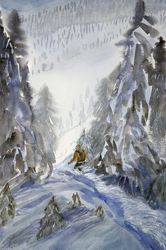 Canadian powder skiing is like flying down a wave of snow crystals Alpine Skiing, Waves, Cat, Crystals, Painting, Cat Breeds, Painting Art, Crystal, Paintings