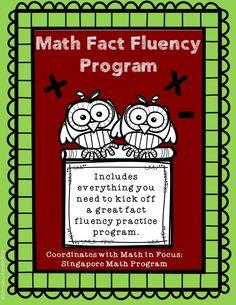 Math fact fluency program designed to coordinate with Math in Focus: Singapore Math. QR Code answer keys. #Math #QRcodes