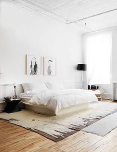 Simple and clean white bedroom.
