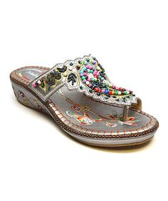 Another great find on #zulily! Gray Bead Embroidered Sandal by John Fashion #zulilyfinds