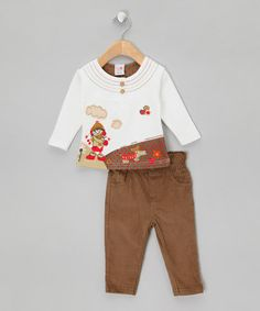 Take a look at this Brown & White Cord Trousers Girl's Set - Infant & Toddler by Cutey Couture on #zulily today!