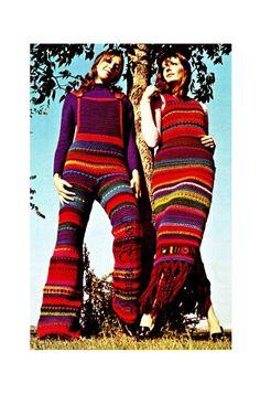 "Vintage Crochet Hippie 70s ""STRIPED"" Overalls & 2-piece Dress PDF Pattern"