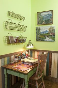 from the OFFICE OF DAYDreams. . for the QUeen of Daydreams in her crafting/sewing/MAMA CAVE of an office. . . old baskets on the wall, salvage farm house lumber on the walls. . .   {junk gypsy co, http://gypsyville.com/ }