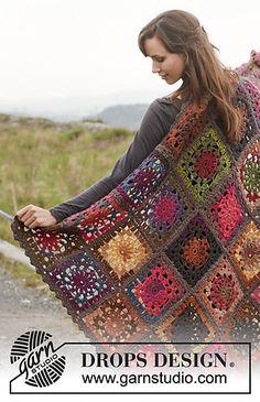 "Log Cabin - Crochet DROPS blanket in ""Big Delight"" with edges in ""Big Merino"". - Free pattern by DROPS Design Crochet Granny Square Afghan, Crochet Squares, Crochet Blanket Patterns, Knitting Patterns, Square Blanket, Crochet Blankets, Granny Squares, Free Knitting, Love Crochet"