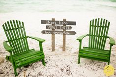 beach wedding sign shoes here, vows there, love everywhere  cool idea: guests signed the chairs!