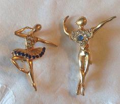 Pair of Ballet Dancer Ballerina Scatter Pins Brooch Blue Crystal Rhinestones Figural Male Female Man Woman