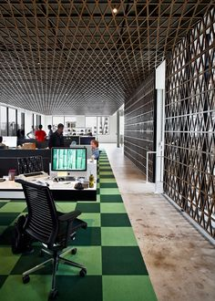 Awesome latticed walls and ceilings at the Panic office in Portland.