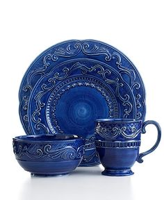 Fitz and Floyd Dinnerware Ricamo Blue 4 Piece Place Setting - Casual Dinnerware - Dining u0026 Entertaining - Macyu0027s  sc 1 st  Pinterest & Fitz and Floyd Dinnerware Ricamo Gold 4 Piece Place Setting ...