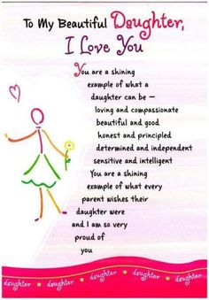 To My Beautiful Daughter Love Quotes Sayings About Daughters Poems For