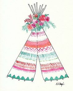 Boho Teepee Art, Original Watercolor Painting, 8x10, pink, mint, coral, orchid…