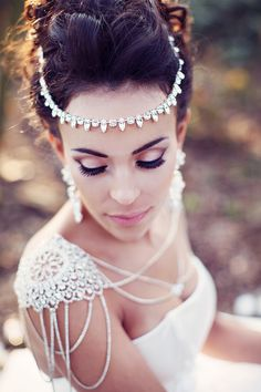 Gorgeous headpiece, shoulder jewelry, hair and makeup for A Midsummer's Night Dream styled shoot from our UK Luxe List partners   Spring 2016 wedding inspiration   Strictly Weddings   Dress @KnutsfordWG   Photography @teresaadele   Jewelry @mothership7   Hair/makeup @flossyandleigh