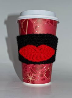 Hot Lips Coffee Cozy/Collar by Doodlebugphotoprops on Etsy