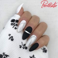 01 WHITE oraz 64 BLACK Edgy Nails, Stylish Nails, Matte Nails, Trendy Nails, Gel Nails, Summer Acrylic Nails, Best Acrylic Nails, Cute Acrylic Nail Designs, Perfect Nails