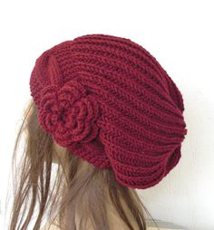 thick yarn how to make a slouchy hat crouche | Slouchy Beanie Womens hat chunky Burgundy knit Slouchy Hat Crochet ...