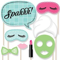 Spa Day - Photo Booth Props Kit - 20 Count Great for slumber party sleep over photos. Spa Sleepover Party, Girl Spa Party, Pamper Party, Birthday Party For Teens, Slumber Parties, Accessoires Photobooth, Diy Photo Booth Props, Kids Spa, Horse Birthday